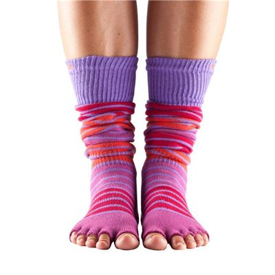 ToeSox Half Toe Knee High Grip Socks Hula Hoop