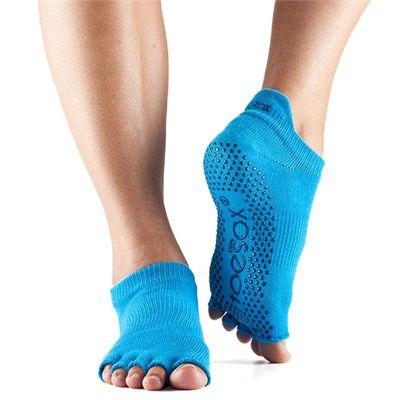 ToeSox Half Toe Low Rise Grip Socks - Blue