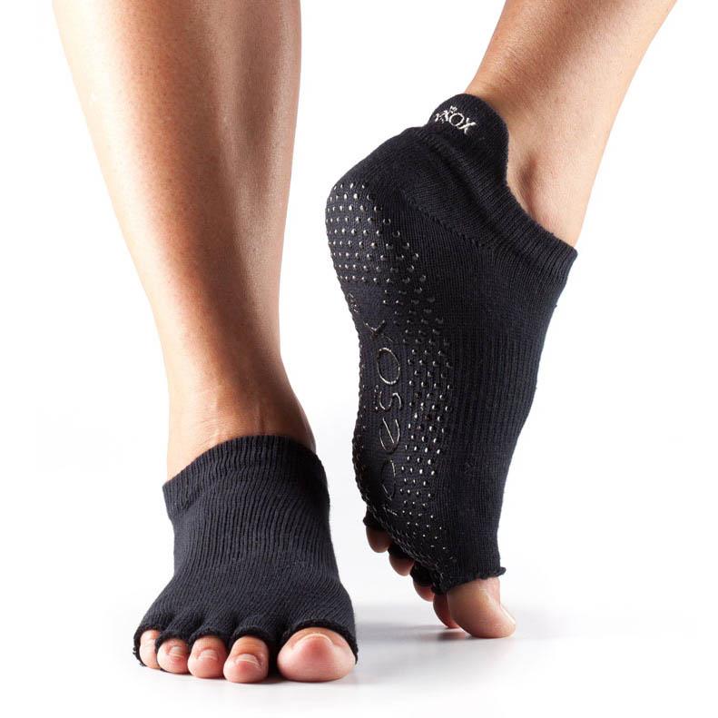 ToeSox Half Toe Low Rise Grip Socks  Black L