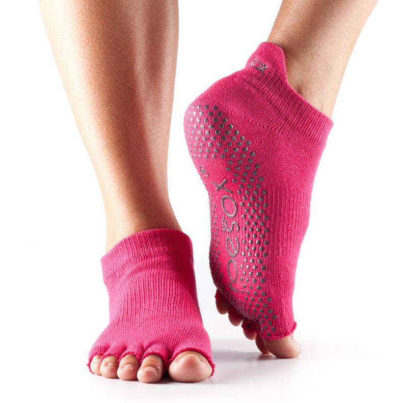 ToeSox Half Toe Low Rise Grip Socks  Fuchsia M