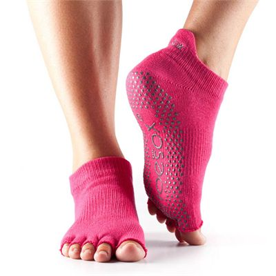 ToeSox Half Toe Low Rise Grip Socks - Fuchsia