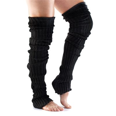 ToeSox Thigh High Leg Warmer-Black-One Size