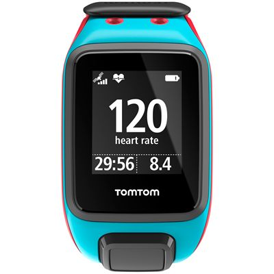 TomTom Runner 2 Cardio Music Large Heart Rate Monitor-Scuba Blue and Red-Image 1