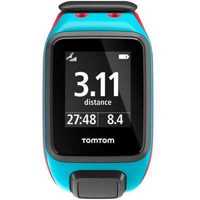 TomTom Runner 2 Cardio Music Large Heart Rate Monitor-Scuba Blue and Red-Image 2