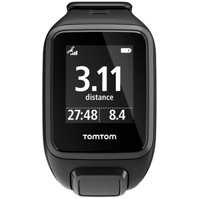 TomTom Runner 2 Cardio Music Small Heart Rate Monitor-Black-Front Distance