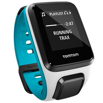 TomTom Runner 2 Cardio Music Small Heart Rate Monitor-White and Blue-Right Music