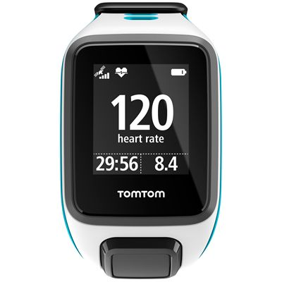 TomTom Runner 2 Cardio Music Small Heart Rate Monitor-White and Blue-Front Cardio