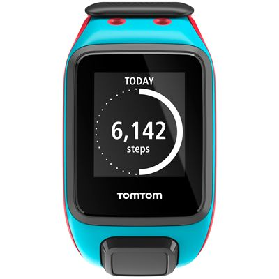 TomTom Runner 2 Large GPS Sports Watch-Scuba Blue and Red-Front Activity