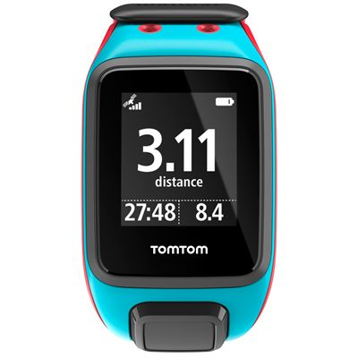 TomTom Runner 2 Large GPS Sports Watch-Scuba Blue and Red-Front Distance