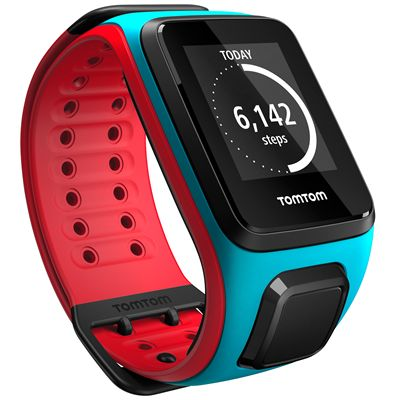 TomTom Runner 2 Large GPS Sports Watch-Scuba Blue and Red-Right Activity