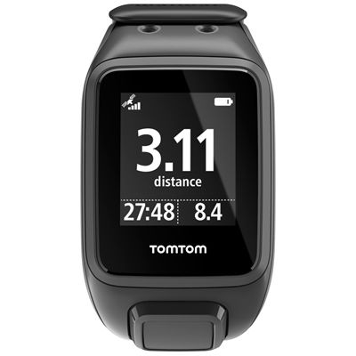 TomTom Runner 2 Music Large GPS Sports Watch-Scuba Black-Front Distance