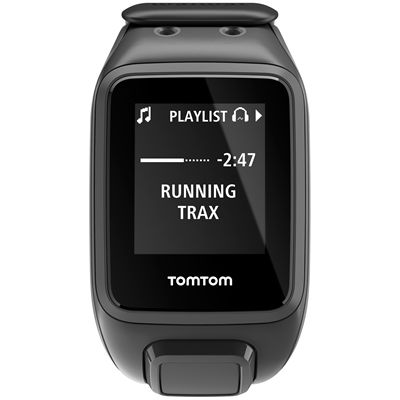 TomTom Runner 2 Music Large GPS Sports Watch-Scuba Black-Front Music