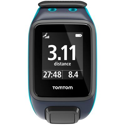 TomTom Runner 2 Music Large GPS Sports Watch-Scuba Blue-Front Distance