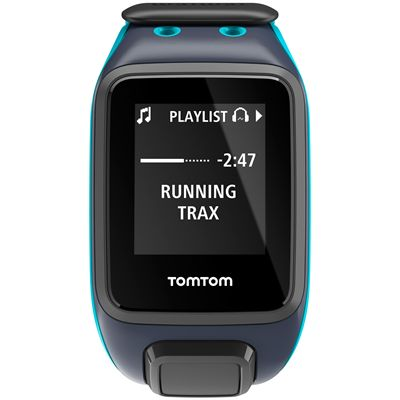 TomTom Runner 2 Music Large GPS Sports Watch-Scuba Blue-Front Music
