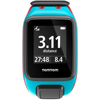 TomTom Runner 2 Music Large GPS Sports Watch-Scuba Blue and Red-Front Distance