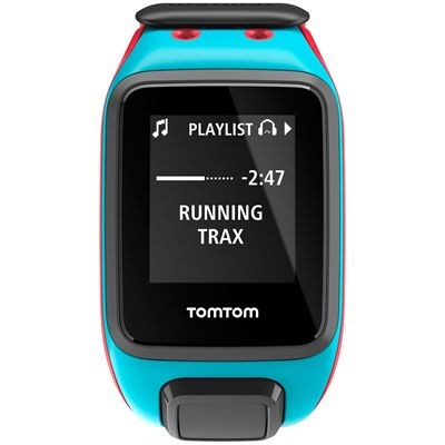 TomTom Runner 2 Music Large GPS Sports Watch-Scuba Blue and Red-Front Music