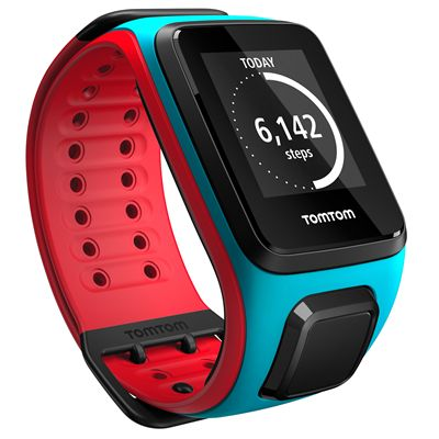 TomTom Runner 2 Music Large GPS Sports Watch-Scuba Blue and Red-Right Activity