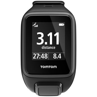 TomTom Runner 2 Music Small GPS Sports Watch-Black-Front Distance