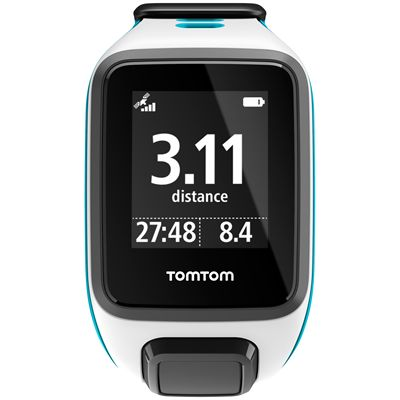 TomTom Runner 2 Music Small GPS Sports Watch-Blue-Front Distance