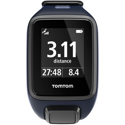 TomTom Runner 2 Music Small GPS Sports Watch-Blue and Purple-Front Distance