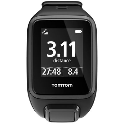 TomTom Runner 2 Small GPS Sports Watch-Black-Front Distance