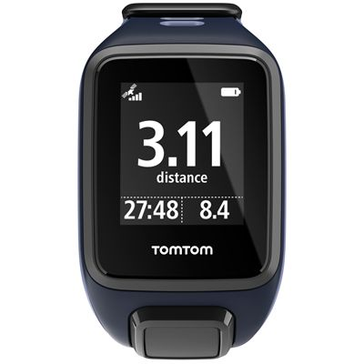 TomTom Runner 2 Small GPS Sports Watch-Sky Captain Blue and Purple-Front Distance