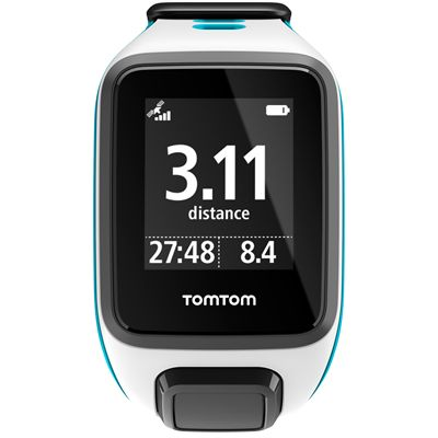 TomTom Runner 2 Small GPS Sports Watch-White and Blue-Front Distance