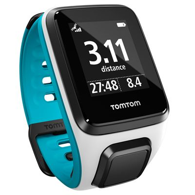 TomTom Runner 2 Small GPS Sports Watch-White and Blue-Right Distance