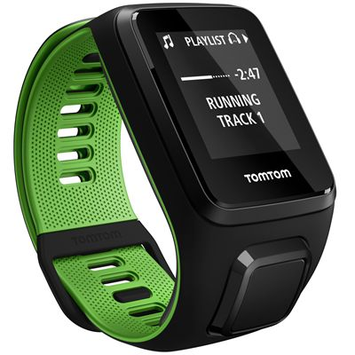 TomTom Runner 3 Cardio Music Small  Heart Rate Monitor-Black/Green-Music