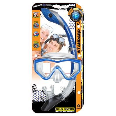 U.S. Divers Anacapa 1 Mask and Island Dry Snorkel Set-Blue-Package