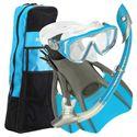 U.S. Divers Diva LX Mask and Island Dry LX Snorkel and Trek Fins SCUBA Set-Blue