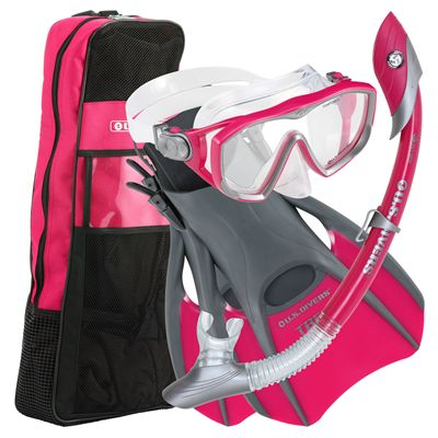 U.S. Divers Diva LX Mask and Island Dry LX Snorkel and Trek Fins SCUBA Set-Pink