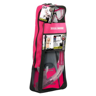 U.S. Divers Diva LX Mask and Island Dry LX Snorkel and Trek Fins SCUBA Set-Pink-Package