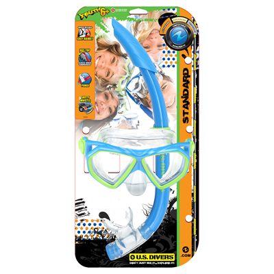 U.S. Divers Dorado Mask and Seabreeze Snorkel Junior Snorkel Set-Blue-Package
