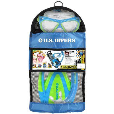 U.S. Divers Dorado Mask and Seabreeze Snorkel and Proflex Fins SCUBA Set-Blue-Packaging