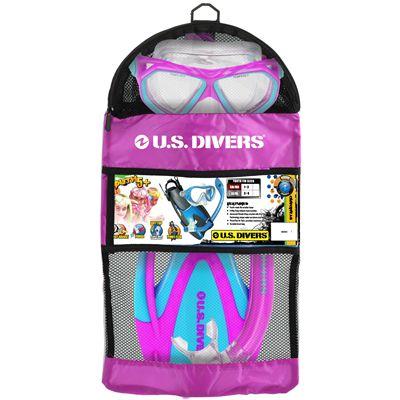 U.S. Divers Dorado Mask and Seabreeze Snorkel and Proflex Fins SCUBA Set-Purple-Packaging