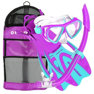 U.S. Divers Dorado Mask and Seabreeze Snorkel and Proflex Fins SCUBA Set-Purple