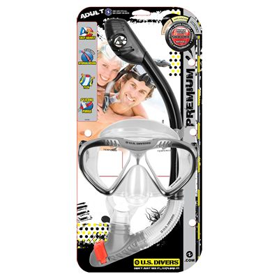 U.S. Divers Magellan LX Mask and Tucson LX Snorkel Set-Black-Package