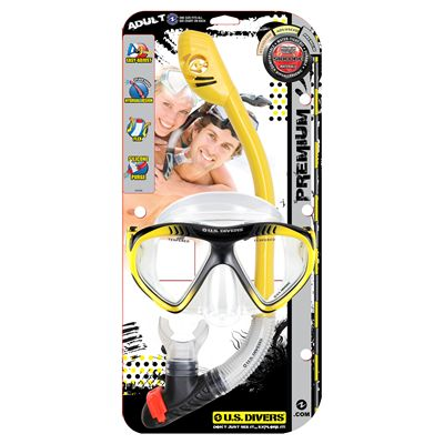 U.S. Divers Magellan LX Mask and Tucson LX Snorkel Set-Yellow-Package