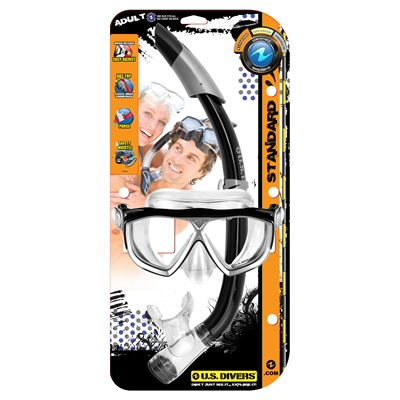 U.S. Divers Na Pali LX Mask and Seabreeze Snorkel Set-Black-Package