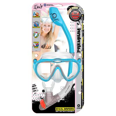 U.S. Divers Starlett LX Mask and Tucson Snorkel Set-Blue-Package