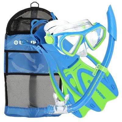 US Divers Dorado Mask and Seabreeze Snorkel and Proflex Fins Junior Snorkel Set-Blue