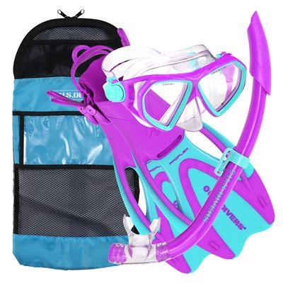 US Divers Dorado Mask and Seabreeze Snorkel and Proflex Fins Junior Snorkel Set-Purple