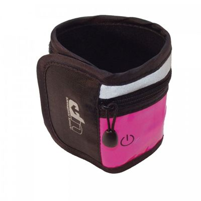 Ultimate Performance LED High-Visibility Running Wristband-Black-Pink