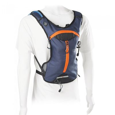 Ultimate Performance Tarn Performance 1.5l Hydration Backpack -Blue-Orange-In Use