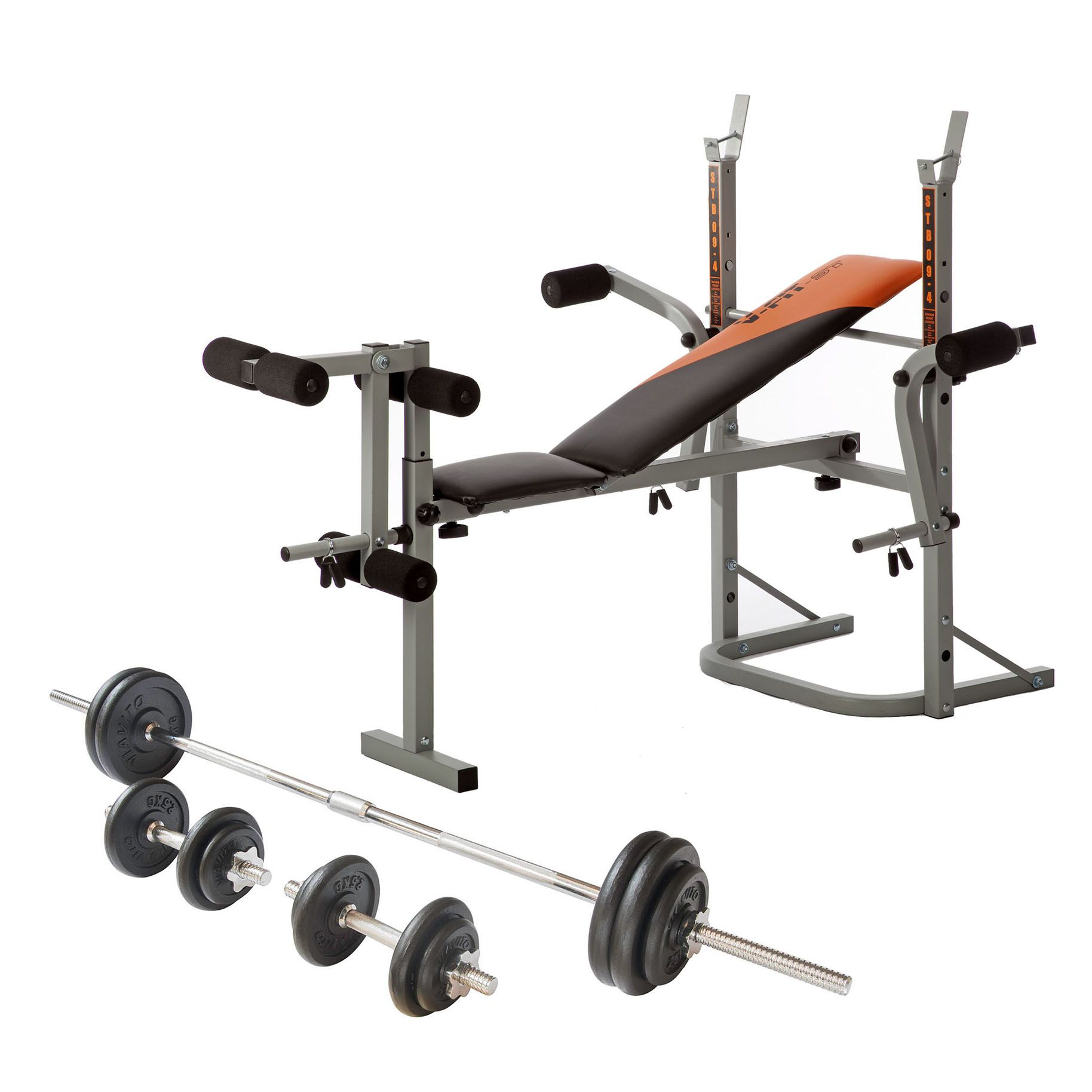 V Fit Folding Weight Bench And Viavito 50kg Cast Iron Weight Set: bench and weight set