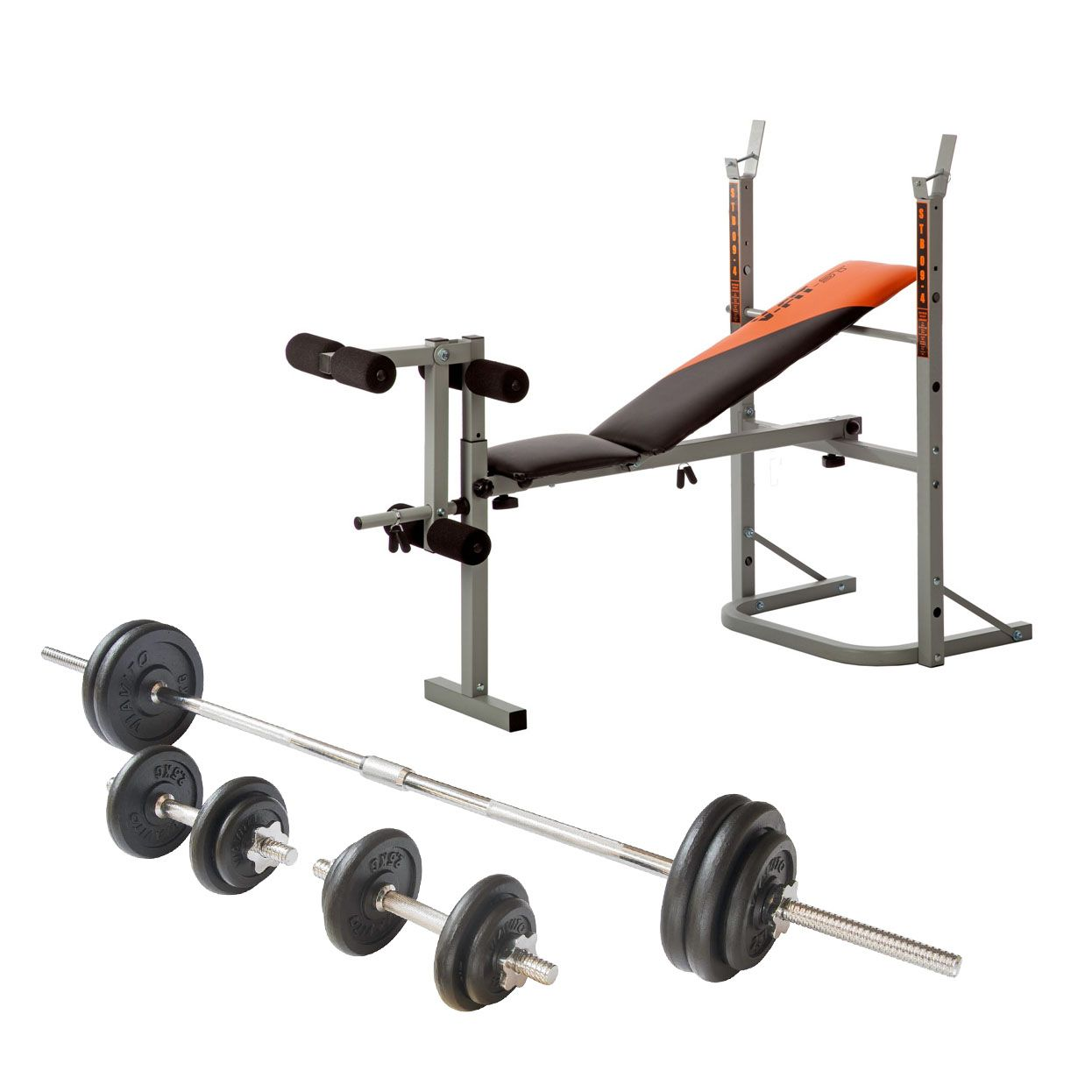V fit stb09 1 folding weight bench with 50kg cast iron weight set Weight set bench