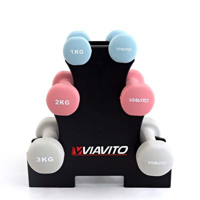 ViewViavito 12kg Dumbbell Weights Set with Stand - Front