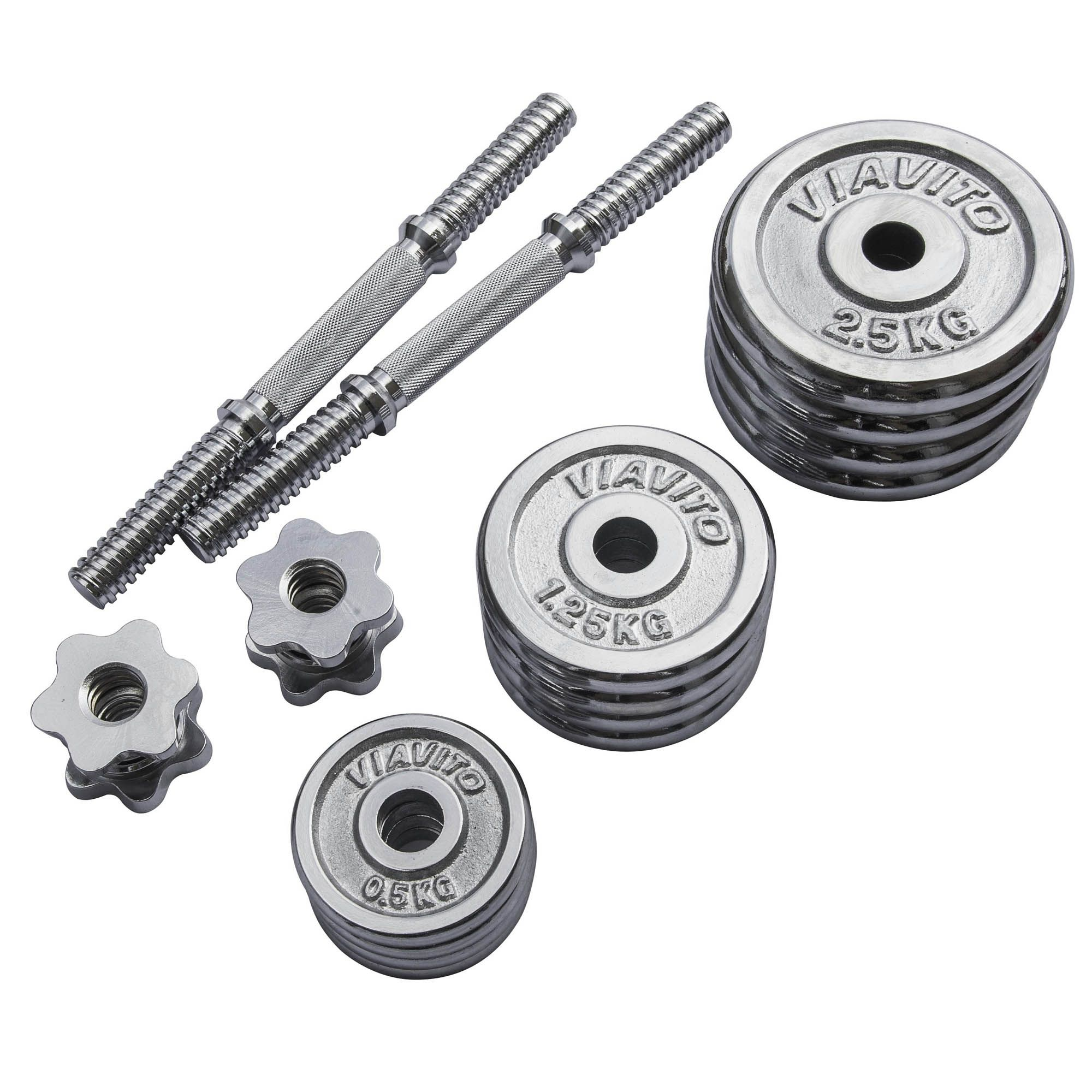 York Chrome Dumbbell Set 15kg: Viavito 20kg Chrome Dumbbell Set