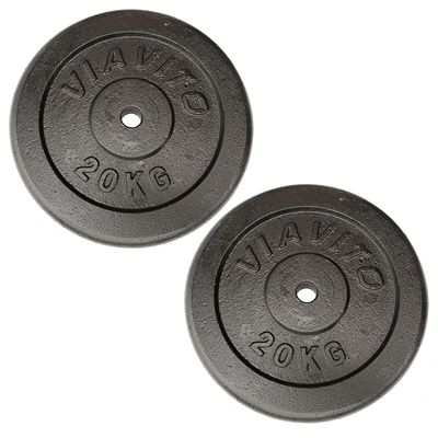 Viavito Cast Iron Standard Weight Plates 2x20kg